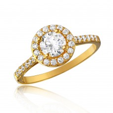 Sterling Silver Gold Plated Thin Micro Pave Ring with CZ - GMR00128GP