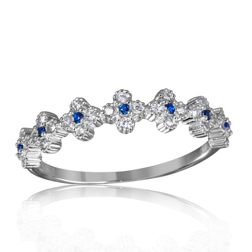 Wholesale Sterling Silver 925 Rhodium Plated Clover Band with Blue CZ Stones - GMR00129S