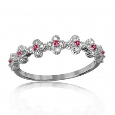 Sterling silver Rhodium Plated Clover Band with Red CZ Stones - GMR00129R