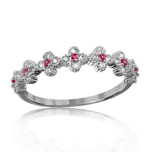 Wholesale Sterling Silver 925 Rhodium Plated Clover Band with Red CZ Stones - GMR00129R