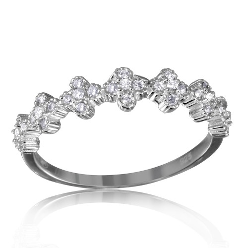 Wholesale Sterling Silver 925 Rhodium Plated Clover Band with Clear CZ Stones - GMR00129W