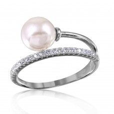 Wholesale Sterling Silver 925 Rhodium Plated Overlap CZ and Synthetic Pearl Ring - GMR00130RH