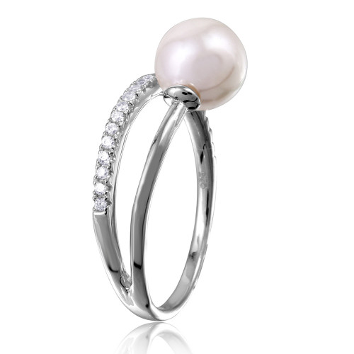 Wholesale Sterling Silver 925 Rhodium Plated Overlap CZ and Synthetic Pearl Ring - GMR00130