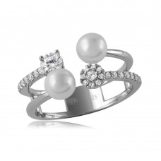 Sterling Silver Rhodium Plated 2 Row CZ And Synthetic Pearl Ring - GMR00131RH