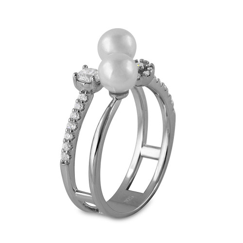 Wholesale Sterling Silver 925 Rhodium Plated 2 Row CZ and Synthetic Pearl Ring - GMR00131