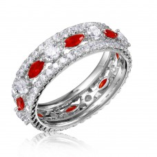 Wholesale Sterling Silver 925 Rhodium Plated Band Encrusted with Clear and Red CZ Stones - GMR00133R
