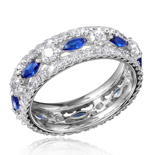 Wholesale Sterling Silver 925 Rhodium Plated Band Encrusted with Clear and Blue CZ Stones - GMR00133S