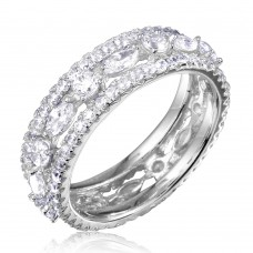 Wholesale Sterling Silver 925 Rhodium Plated Band Encrusted with CZ Stones - GMR00133W