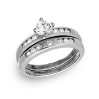 Wholesale Sterling Silver 925 Rhodium Plated Round Pave Center Set Bridal Ring - GMR00134