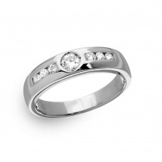 Mens Sterling Silver Rhodium Plated Eternity Ring with CZ - GMR00135RH