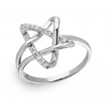 Wholesale Sterling Silver 925 Rhodium Plated Intertwined Star with CZ - GMR00136
