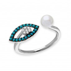 Sterling Silver Black Rhodium and Rhodium Plated Turquoise Evil Eye and CZ with Fresh Water Pearl Ring - GMR00137B-T