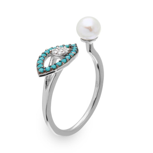 Wholesale Sterling Silver 925 Black Rhodium and Rhodium Plated Turquoise Evil Eye and CZ with Fresh Water Pearl Ring - GMR00137B-T