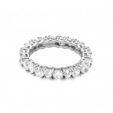 Wholesale Sterling Silver 925 Rhodium Plated Eternity Ring with Heart Shaped CZ - GMR00138