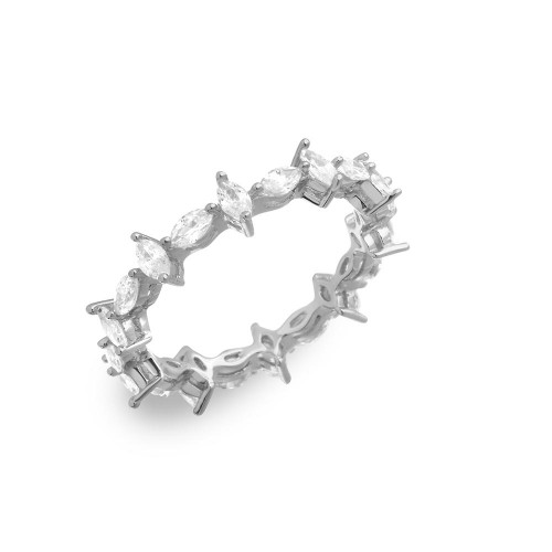 Wholesale Sterling Silver 925 Rhodium Plated Eternity Ring with Marquise CZ - GMR00139