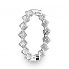 Wholesale Sterling Rhodium 925 Plated Diamond Shaped Eternity Ring - GMR00140
