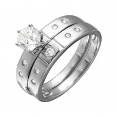 Wholesale Sterling Silver 925 Half Matte Finish Rhodium Plated CZ Trio Bridal Ring - GMR00142