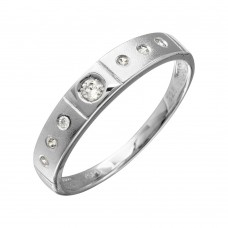 Mens Sterling Silver Half Matte Finish Rhodium Plated CZ Triol Ring - GMR00143RH