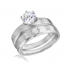 wholesale Sterling Silver 925 Rhodium Plated Matte Finish 5 CZ Wedding Ring - GMR00144