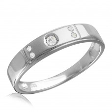 Sterling Silver Rhodium Plated Matte Finish 5 CZ Wedding Ring - GMR00145RH