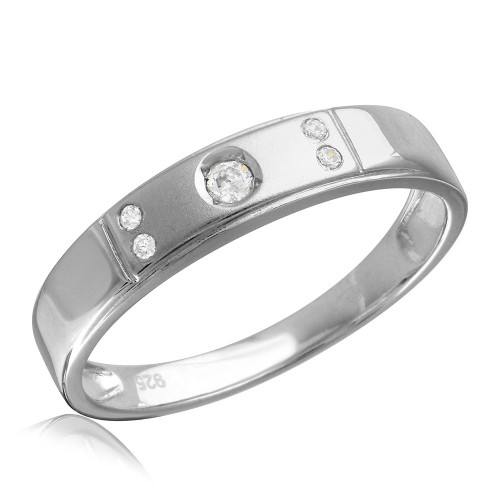 Wholesale Sterling Silver 925 Rhodium Plated Matte Finish 5 CZ Wedding Ring - GMR00145