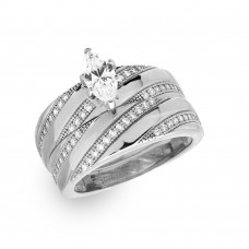 Wholesale Sterling Silver 925 Rhodium Plated Marquise Center Trio Bridal Ring - GMR00146