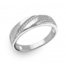 Sterling Silver Rhodium Plated Men's Trio Slanted Bar Ring - GMR00147RH