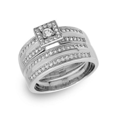 Wholesale Sterling Silver 925 Rhodium Plated Round Square Center Trio Bridal Ring - GMR00148