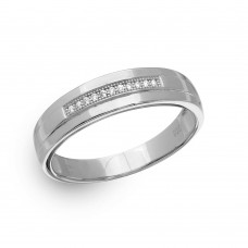 Mens Sterling Silver Rhodium Plated Single Bar CZ Ring - GMR00149