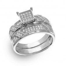 Sterling Silver Rhodium Plated Square Pave Center Trio Bridal Ring - GMR00150