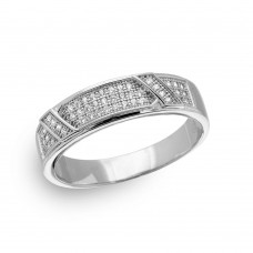 Mens Sterling Silver Rhodium Plated Men's CZ Pave Trio Ring - GMR00151RH