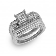 Sterling Silver Rhodium Plated Two Piece Clear CZ Square Bar Accent Ring - GMR00152RH