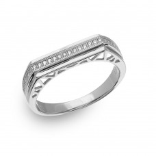 Mens Sterling Silver Rhodium Plated Micro Pave Designed Shank Ring - GMR00153RH