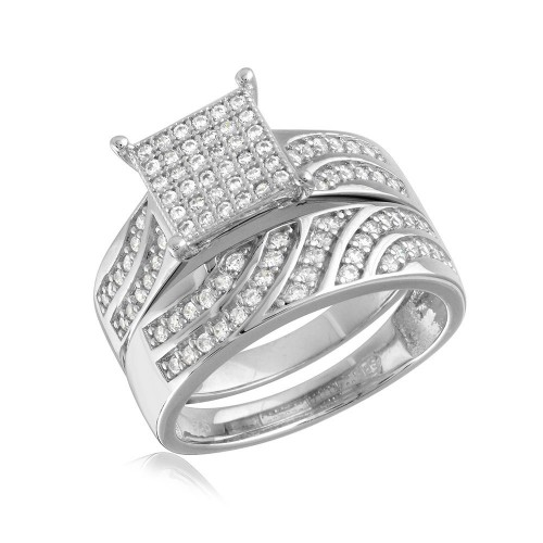Wholesale Sterling Silver 925 Rhodium Plated Wave CZ Band Square Center Micro Pave Stones Wedding Ring - GMR00154