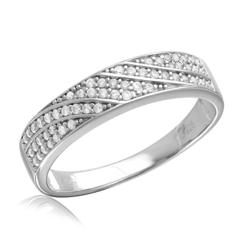Wholesale Mens Sterling Silver 925 Rhodium Plated Wave CZ Band Wedding Ring - GMR00155