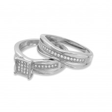 Wholesale Sterling Silver 925 Rhodium Plated Square Center Trio Bridal Ring - GMR00156
