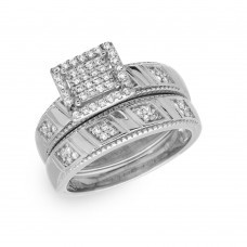Sterling Silver Rhodium Plated Square Pave Center Trio Bridal Ring - GMR00158RH