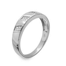 Mens Sterling Silver Rhodium Plated  Trio CZ Ring - GMR00159RH