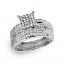 Sterling Silver Rhodium Plated Square Pave Center Trio Bridal Ring - GMR00160RH