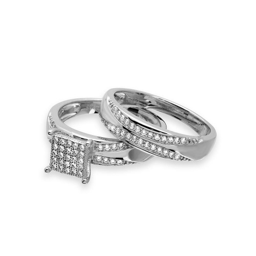Wholesale Sterling Silver 925 Rhodium Plated Square Pave Center Trio Bridal Ring - GMR00160
