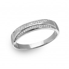 Wholesale Sterling Silver 925 Rhodium Plated Men's Tappered Shank Trio Band with CZ - GMR00161