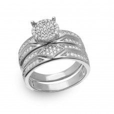 Sterling Silver Rhodium Plated Round Pave Center Trio Bridal Ring - GMR00162RH