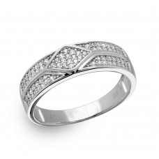 Wholesale Sterling Silver 925 Rhodium Plated Diamond Accented Band with CZ - GMR00163