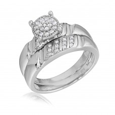 Sterling Silver Rhodium Plated Sideway Stone Design Custer CZ Center Wedding Ring - GMR00164RH