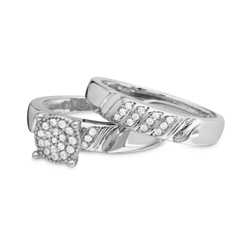 Wholesale Sterling Silver 925 Rhodium Plated Sideway Stone Design Custer CZ Center Wedding Ring - GMR00164