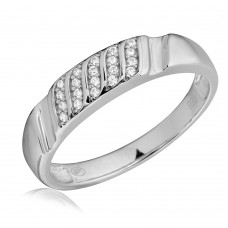 Mens Sterling Silver Rhodium Plated Sideway Stone Design Wedding Ring - GMR00165RH