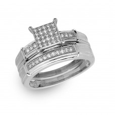 Sterling Silver Rhodium Plated CZ Pave Square Center Ring - GMR00166RH