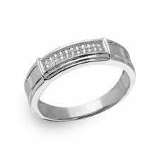 Mens Sterling Silver Rhodium Plated Double Bar CZ Ring - GMR00167RH
