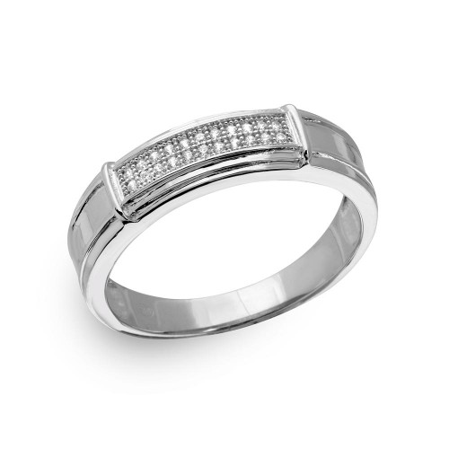 Wholesale Sterling Silver 925 Rhodium Plated Double Bar CZ Ring - GMR00167