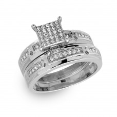 Wholesale Sterling Silver 925 Rhodium Plated Square Pave Center Trio Bridal Ring - GMR00168